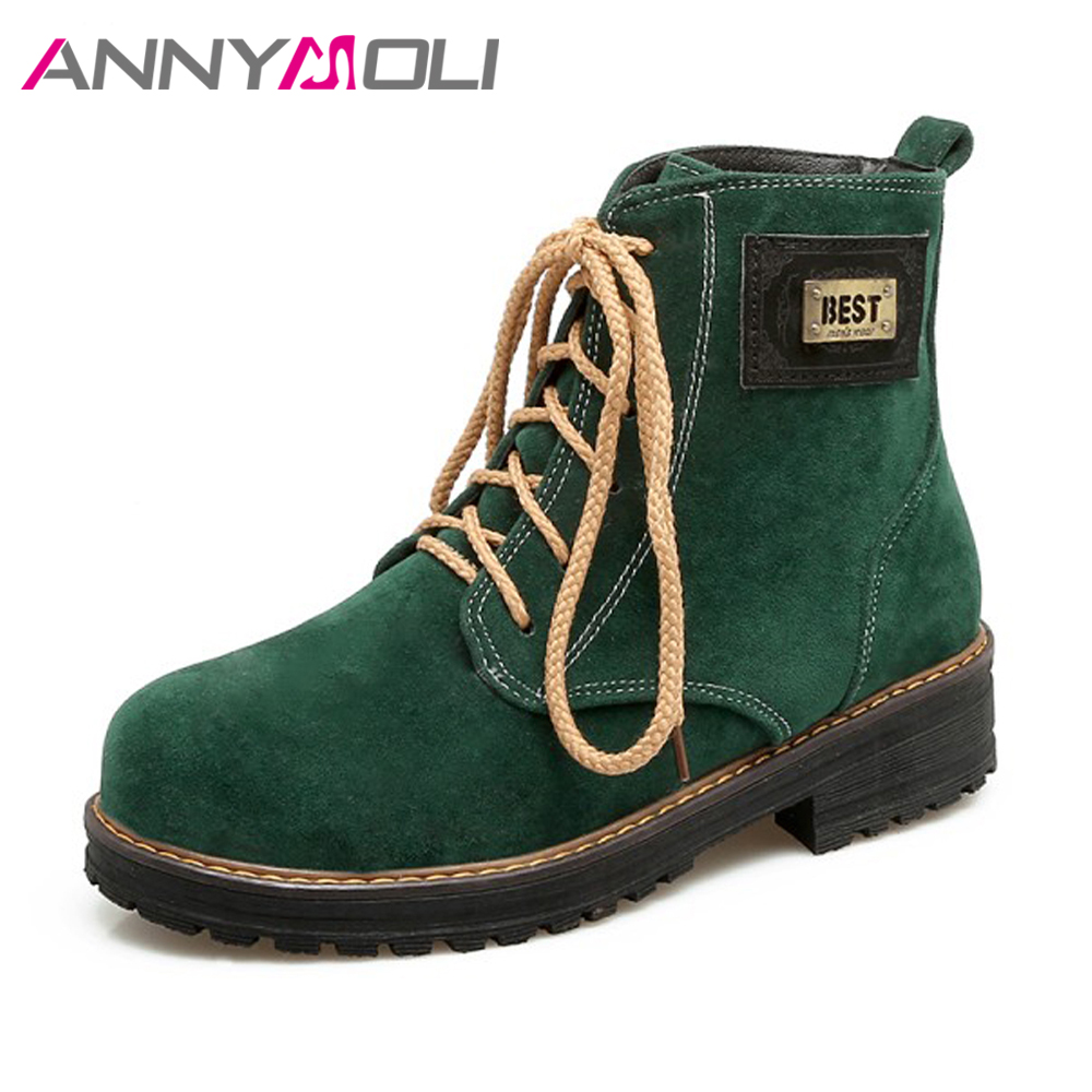 ANNYMOLI Women Ankle Boots Platform Winter Spring Shoes Sewing Lace Up Boots Flat Round Toe Women Martin Boots Big Size 43 Black enmayer hot new fashion round toe lace up flat ankle snow boots for women winter boots shoes large size 34 43 platform shoes
