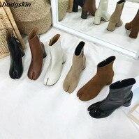 2019 женские сапоги до середины икры с квадратным носком, на молнии, на высоком квадратном каблуке, Zapatos De Mujer Botines, женская обувь