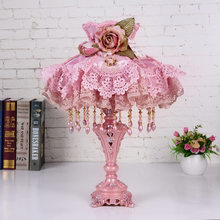 High Grade Pink Lace European Table Lamp Bedroom Bedside Living Room Cloth Table Lamp Wedding Room Bedside modern led Desk Lamps(China)