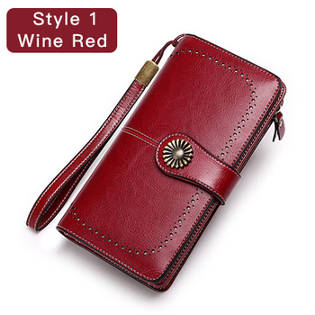 Vintage Style Split Leather Women's Wallet Bags and Wallets Hot Promotions New Arrivals Women's Wallets Color: Style 1 Wine Red Ships From: China