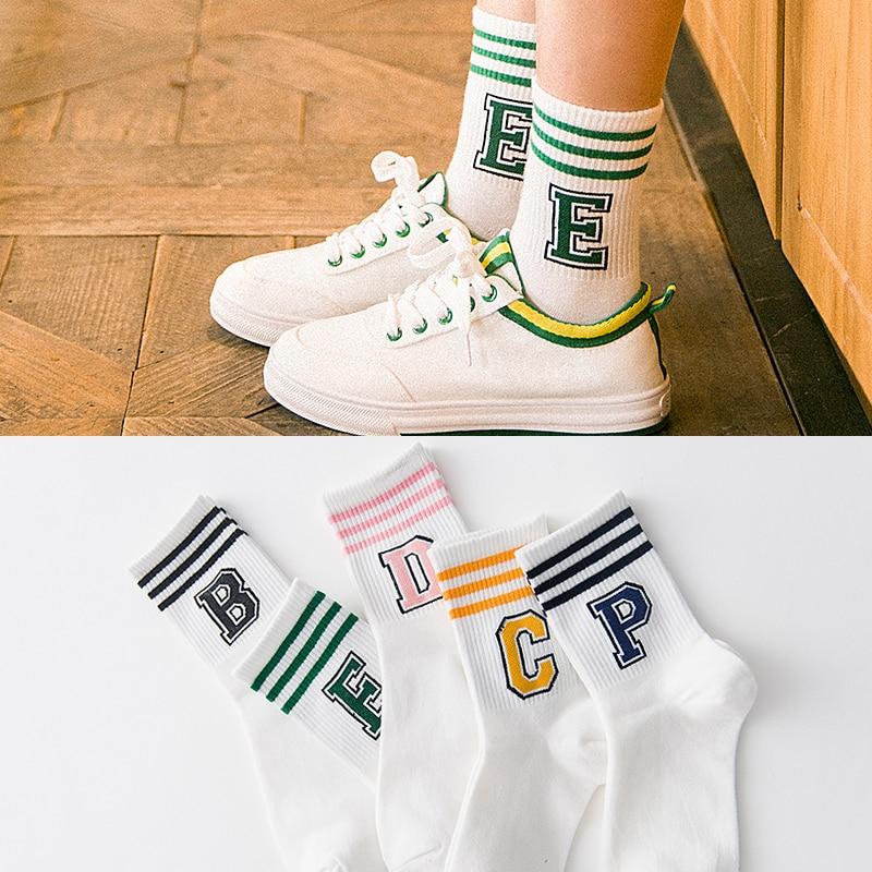 Классические модные спортивные короткие носки в полоску с буквенным принтом милые носки Harajuku для девочек повседневные женские крутые хлопковые носки для скейтборда SOX