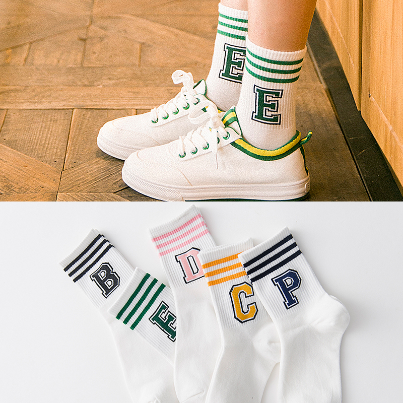 Classic Striped Letter Print Fashion Sporty Short   Socks   Girls Cute Harajuku   Socks   Casual Female Cool Skateboard Cotton   Socks   SOX