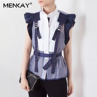 [MENKAY] Striped Hit Color Patchwork Women Blouse Stand Collar Sleeveless Ruffles Tank tops Female Fashion 2019 Summer