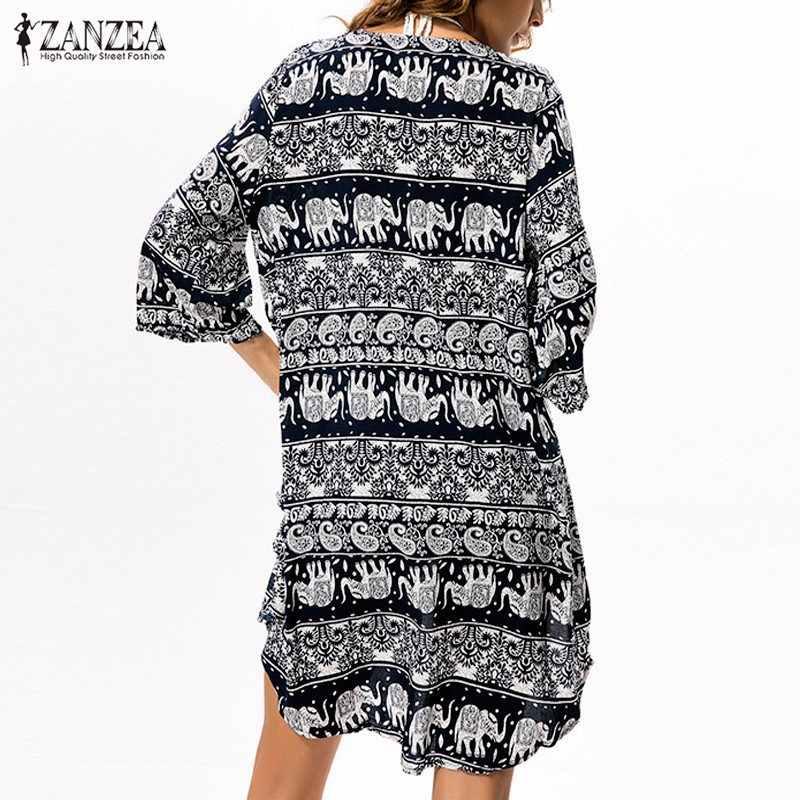 ZANZEA 2016 Mode Vrouwen Zomer Kimono Blouse 3/4 Mouwen Bloemenprint Casual Vest Strand Lange Blusas Tops Plus Size 2 kleuren