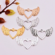 1pc Fashion  47mm Hollow Heart Wings Pendant For Lady Clavicle Angel Wings Heart Pendant charm bracelet DIY jewelry making