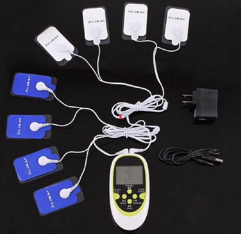 NEW DUAL TENS MACHINE DIGITAL MASSAGE + ACCUPUNCTURE Body Massager + 8pcs Silica gel electrode