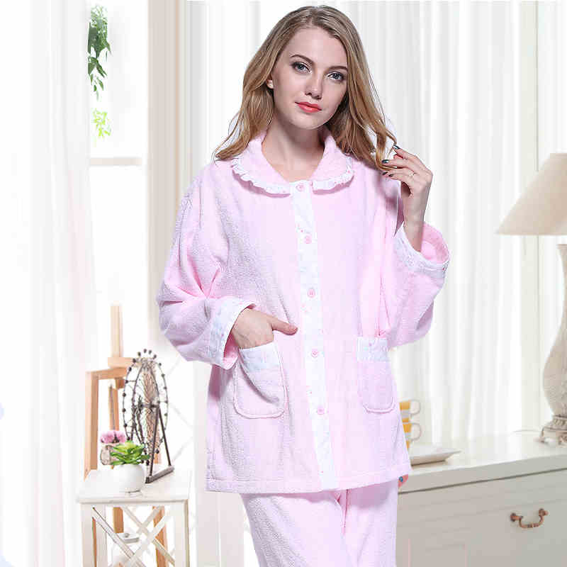Pink Color Women's Sleep Lounge Robe Gown Sets Super Soft