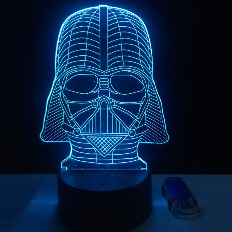 Cartoon Star Wars Vader 3D LED USB RGB Lamp 7 Color Changing Black Knight Lampada Table Night Light Boy Decor Gifts Lava Blubing star wars bb8 droid 3d bulbing light toys new 7 color changing visual illusion led decor lamp darth vader millennium falcon toy