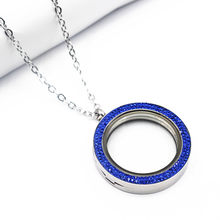 34mm Free Stainless Steel Chain Magnet Blue Crystal Floating Lockets Necklace Silver Big Glass Locket Pendant Necklace Jewelry(China)
