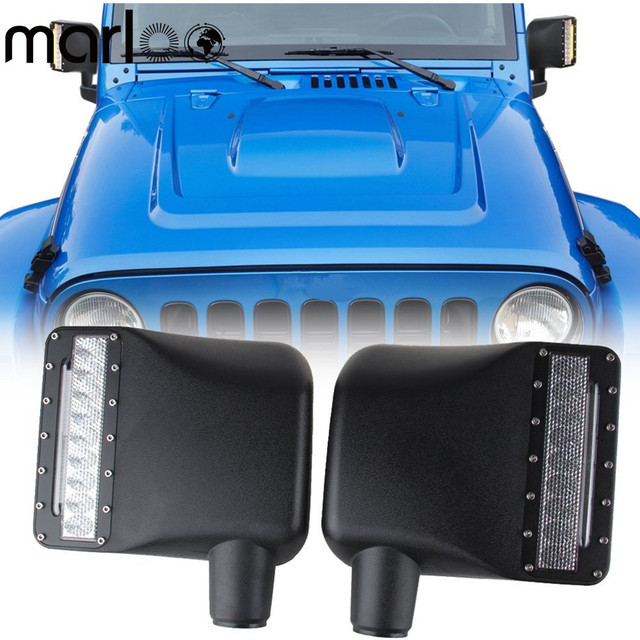 Marloo White LED Light Clear Lens Sidelight Rear view Side Mirror Housing W/ Yellow Turn Signal Lights For Jeep Wrangler JK JKU