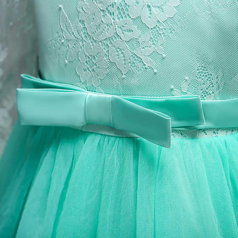 Çiçek Dantel Elbise Katı Uzun Kollu Kız Elbise Parti Düğün Beyaz Pembe balo elbisesi Ilk Cemaat Elbiseler Vestido