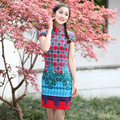 Vintage Plaid Chinese Traditional Dress Women Summer Cotton Linen Qipao Short Slim Sexy Cheongsam Top Size S M L XL XXL 2611-4