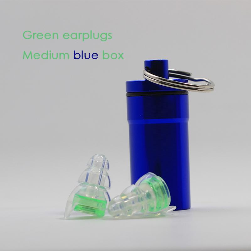 Green earplugs + Medium blue box