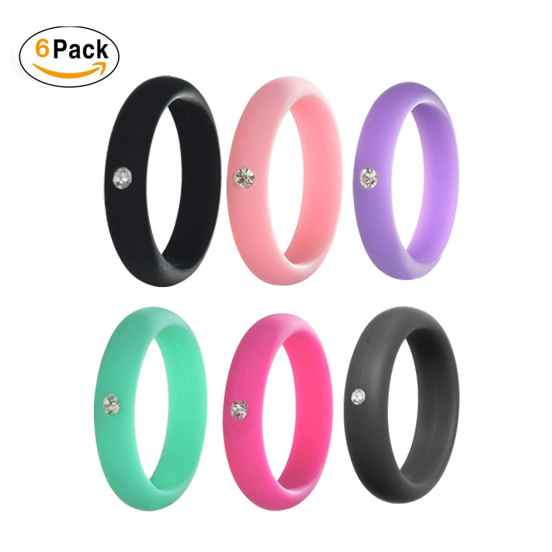 5mm FDA Silicone Ring Hypoallergenic Crossfit Flexible Rubber Finger Rings with rhinestone Women crystal rubber Wedding rings