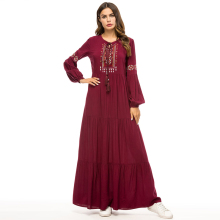 Long Sleeve Muslim Abaya embroidery Dress Kimono Robe Gown Loose Style Plus Size Jubah Ramadan Middle East Islamic dresses