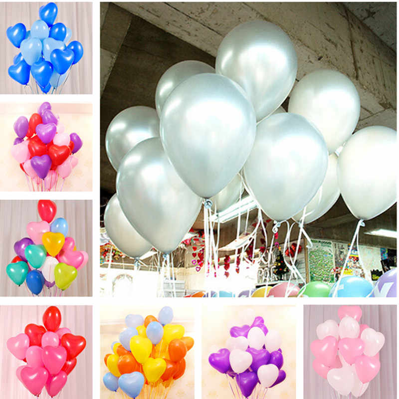 10pcs 10inch 1.5g Silver Heart Wedding Latex Balloons Birthday Party Decorations Kids Inflatable Air Balls Supplies Baby Shower