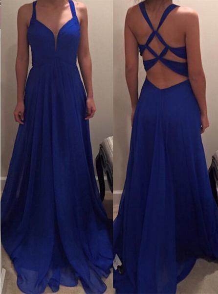Royal Blue Backless A-Line Long   Evening     Dresses   Plus Size Sleeveless V-Neck Prom Party Gowns Vestidos de noite Abendkleider 2017