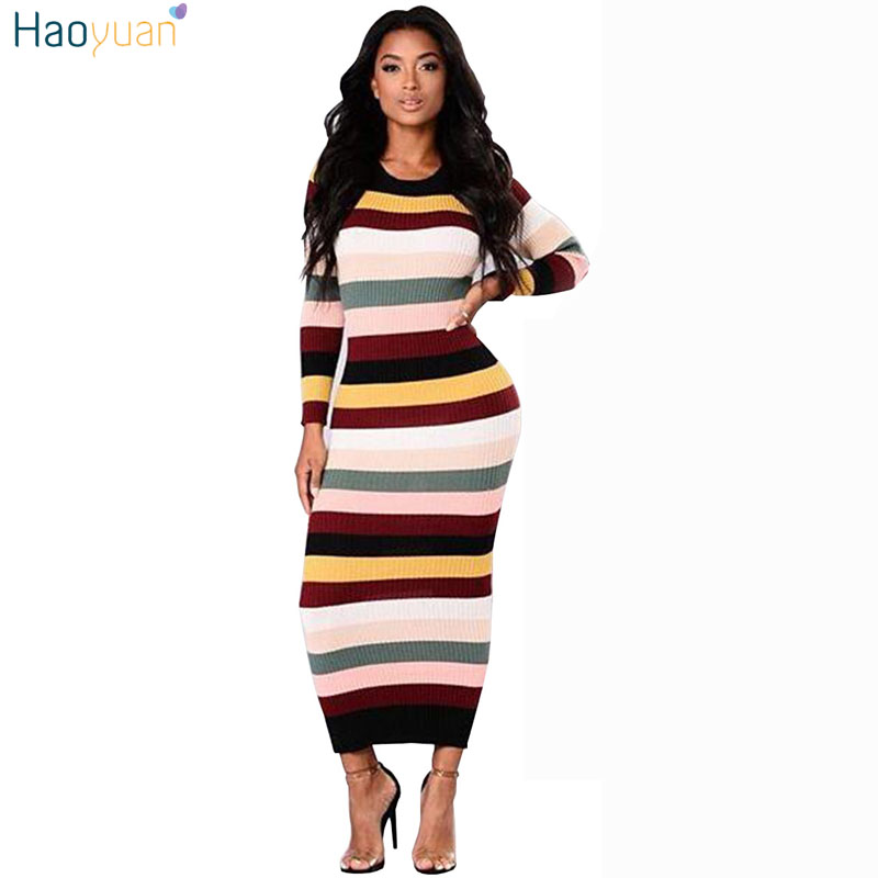 HAOYUAN Striped Maxi Dress Long Sleeve Vintage Bodycon Sweater Dress Elegant Ladies Autumn Winter Women Long Knitted Dresses