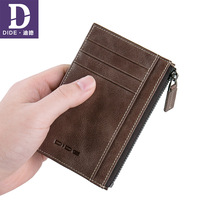 DIDE Genuine Leather Male Card Holder Short Small Vintage Mini Wallet Men Leather Wallet Zipper Change Coin Purse
