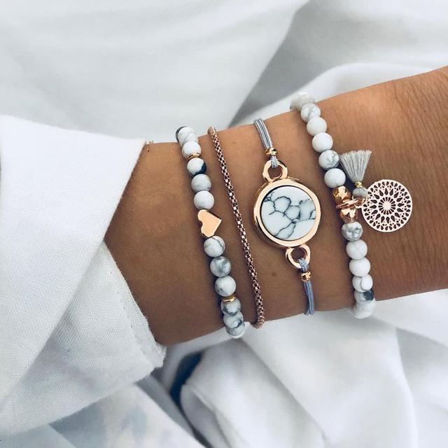 Bohemian Handmade Weave Heart Long Tassel Bracelet Set
