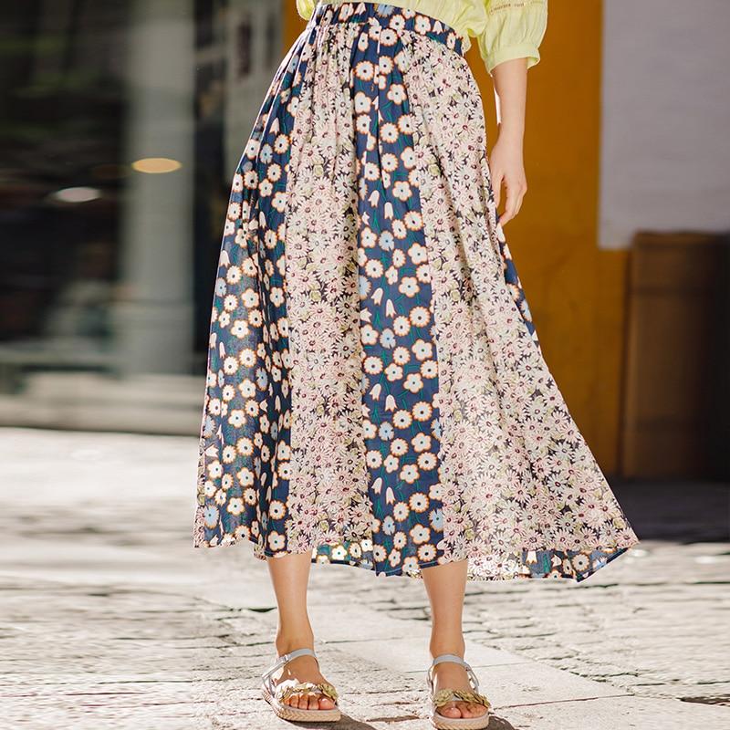 INMAN Summer Elegant Lady Skirt Floral A Line Skirt Unique Design Prairie Chic Natural Elastic Waist Women Skirt