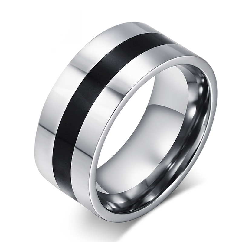Fashion Ring Resin ring 9mm For Men Stainless Steel Enamel Big Ring Jewelry Wholesale Silver Plated Ring Men