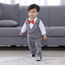 fashion Baby Boys Rompers Tie Gentleman Grey Blue Stripe grid Long Sleeve Jumpsuits + Vest Infant Clothing(China)