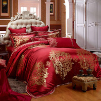 IvaRose 10Pieces King size Red Wedding Luxury bedding sets cotton linens Embroidery Satin duvet cover+bedspread+pillowcases
