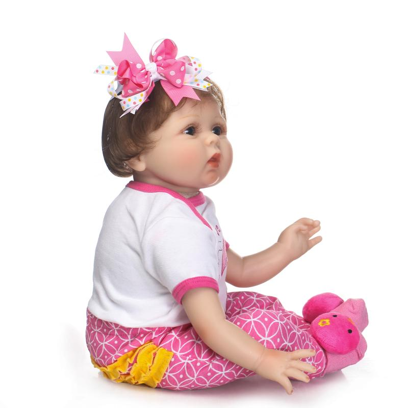 NPKCOLLECTION reborn babydoll 22inch with soft cloth body stuffed PP cotton real touch doll for children Gift on Birthday