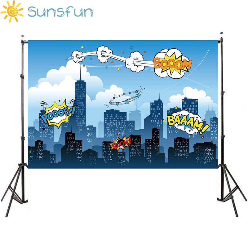 Sunsfun 7x5ft Superhero Birthday Party Supergirl City Sky Building Night Baby Shower Photobooth 220x150cm