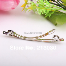 2014 new  DIY hairgrips clips 8CM two plates findings white stainless steal pinch cock Hair charms accessory 100pcs/lots