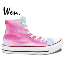 Wen Hot Hand Painted Shoes Original Design Custom Pink Galaxy Stars Women's High Top Canvas Sneakers Gifts for Girls