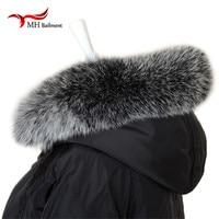 Really fox Winter Women's Real Fox Fur Collar Fox Fur Cap Fur Collar 70/80cm Straight Collar Soft Fur Scarf Neck Warmer L#83