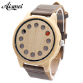 2017 New Light Eco-friendly 12 Holes Design Wooden Watch Mens Leather Quartz Watches Special Hands Bracelet with Origin box