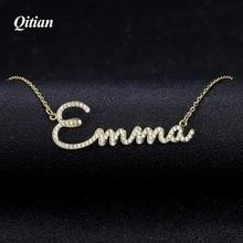 Qitian أي اسم قلادة سلسلة حجر مثلج خارج زركونيا القلائد شخصية مخصصة قلادة مجوهرات مقلدة جديد وصول 2019