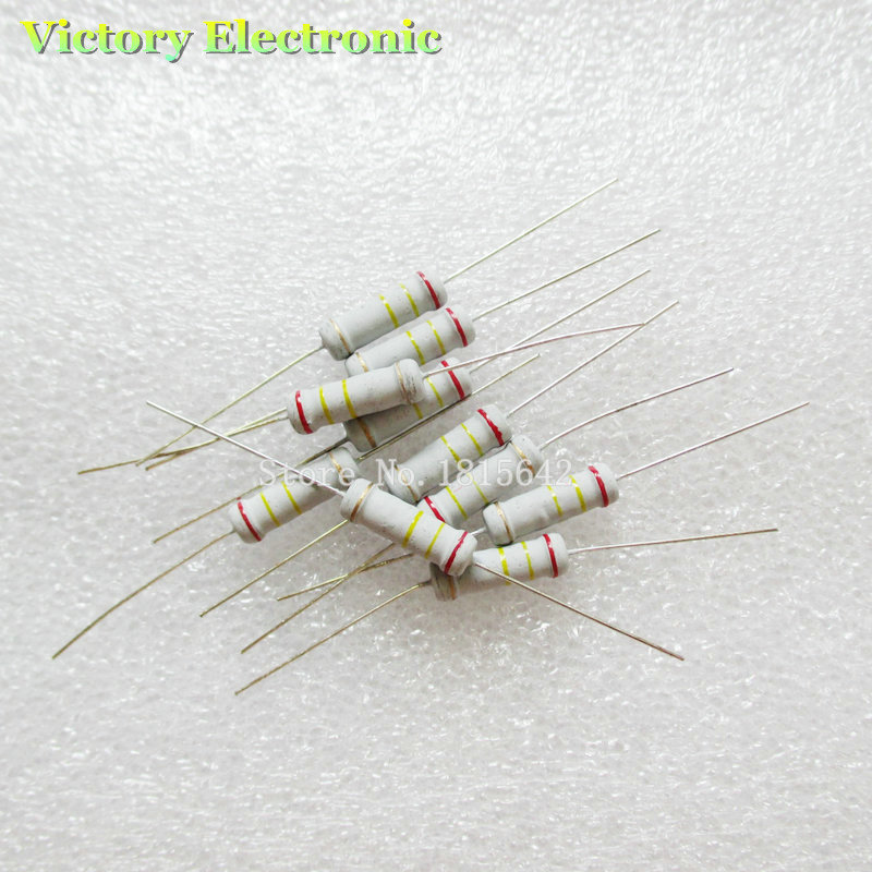 New 20PCS/Lot 2W 1ohm 5% Resistor / 2W 1R ohm Carbon film resistor +/- 5% / 2W Color ring resistance Wholesale Electronic