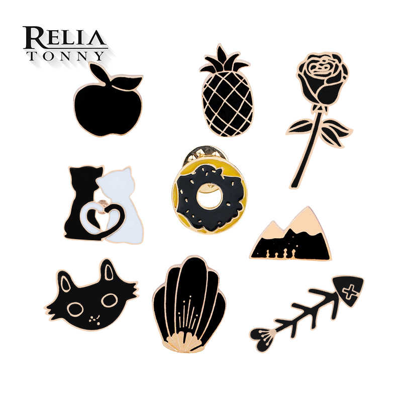Creativo Black Rose Spilla Cartone Animato apple Pino apple Cat Fish Bone Smalto Spilli Delle Donne Degli Uomini Del Cappello Risvolto Distintivo Collezione di Gioielli regali