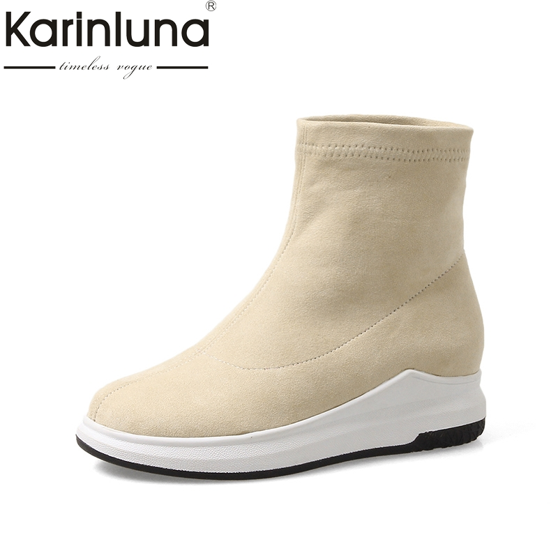 KARINLUNA 2017 Plus Size 34-43 Platform Slip On Woman Shoes Fashion Black beige Ankle Boots casual elastic Boot Women
