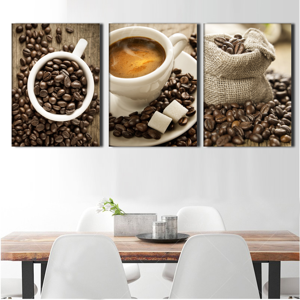 3 pieces set coffee wall art canvas print painting for for Wall art sets for living room