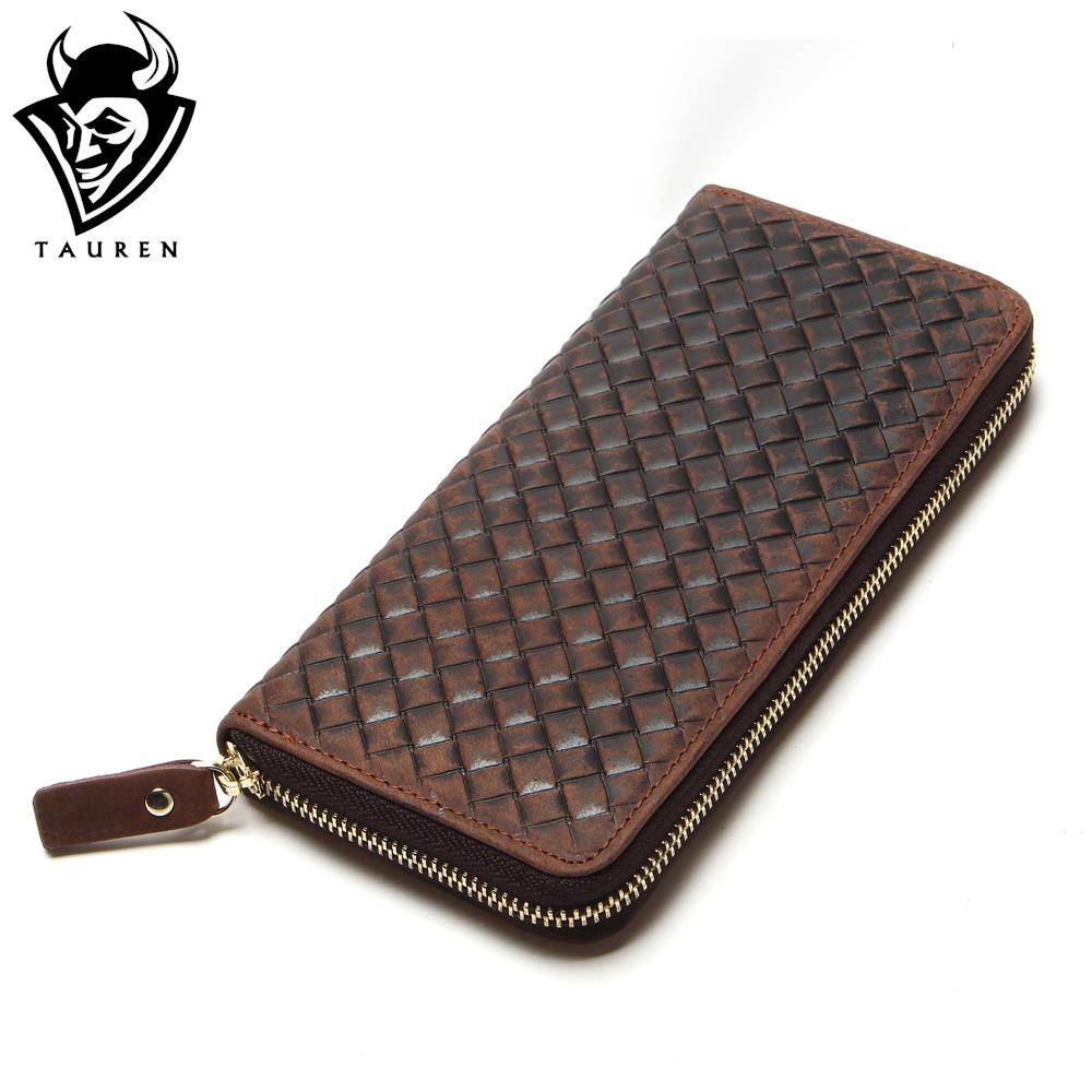 New Arrival Brand Weave Clutch Men Wallets Male Wallet Genuine Leather Long Purses Card Holder Coin