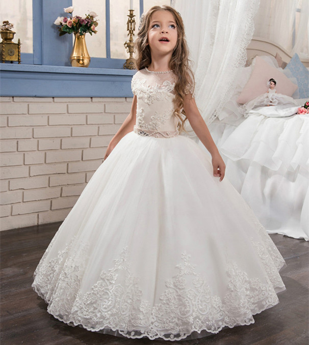 Shinny Pearls White Flower Girl Dresses O-neck Lace Up Sash Ball Gown Custom Made First Communion Gown Vestidos Longo pageant dresses for girl butterfly o neck lace up bow sash sleeveless ball gown vestidos longo custom made first communion gown