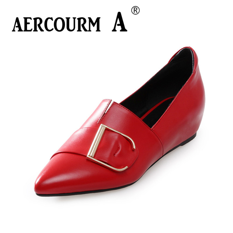 цена на Aercourm A Women Black Red Pumps Female Shallow Genuine Cow Leather Dress Shoes 2018 Spring Square Low Heel Metal Office Shoes