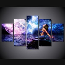 5 Pieces set The Rusalka Blue Mermaid Modern Home Wall decorations for home Art HD Print