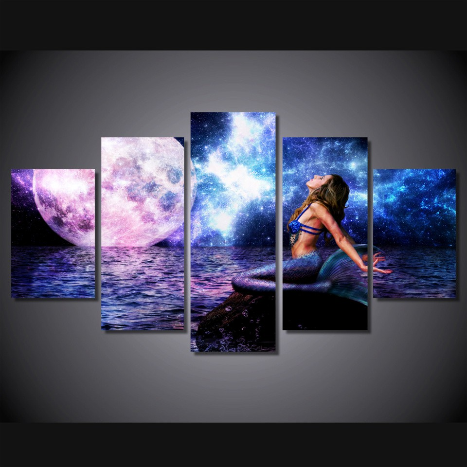 5 Pieces set The Rusalka Blue Mermaid Modern Home Wall font b decorations b font for