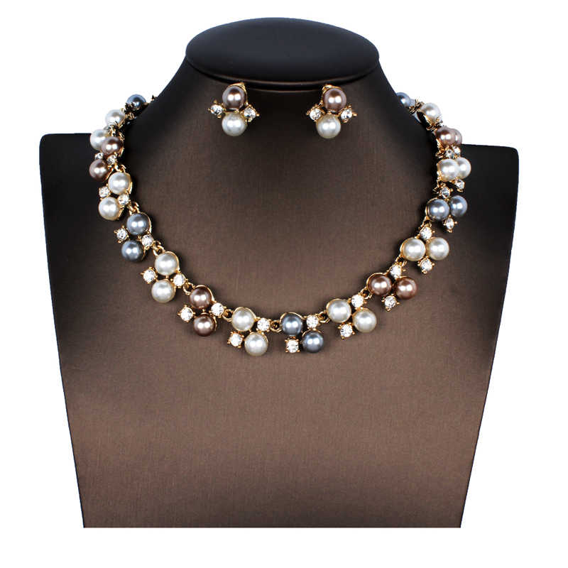 jiayijiaduo African Women's Wedding Jewelry Imitation Pearl Jewelry Set Wedding Jewelry Accessories Necklace Earrings Set
