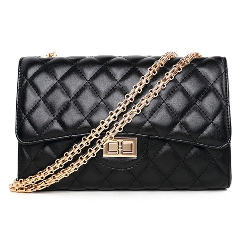 sac a main femme de marque luxe cuir 2017 women leather handbags gold chain bag female Plaid quilted black women shoulder bags