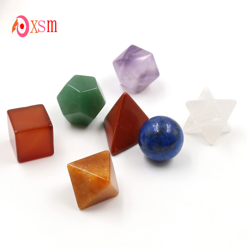 xinshangmie 7 Piece Carved 7 Chakra Multicolor Platonic Solid Chakra Reiki Healing Crystal Sacred Geometry natural stone carved opalite opal pyramid symbol rose quartzs point chakra healing reiki crystal free pouch