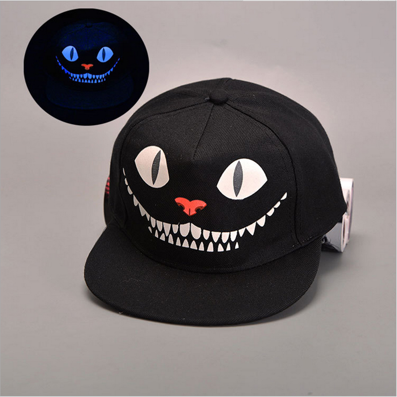 2017 Fashion Glowing Graffiti Baseball Cap Hip Hop Blue Fluorescent Dad Snapback Caps Men Casquette Women Boy Bone Hat Snap Back new fashion pink panther baseball cap snapback hat cap for men women dad hat hip hop hat bone adjustable casquette