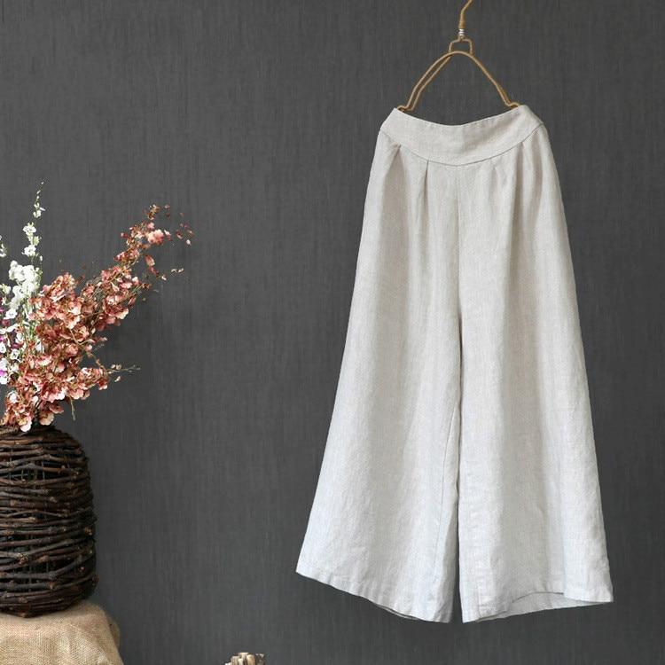 Loose Girls Cotton Linen White   Wide     Leg     Pants   Trousers Women Vintage Zen Linen Spring Summer Casual Elastic Waist Retro   Pants