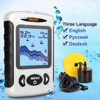 LUCKY Russian Menu Top Quality Electronic Fish Finder Portable Sonar Wired Fish Depth Finder Alarm 100M